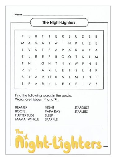 Night Lighters Word Search Download